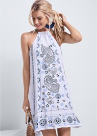 Cropped front view Paisley Embroidered Dress