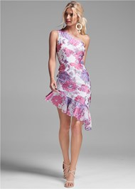 Full front view Floral Metallic Dress