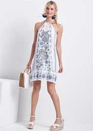 Full front view Paisley Embroidered Dress