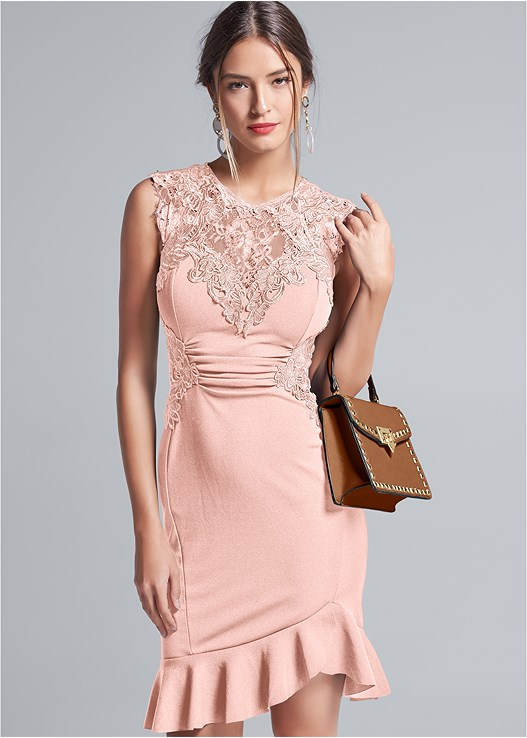 LACE DETAIL DRESS,STRAPPY HEELS,LONG CIRCLE EARRINGS,STUD DETAIL HANDBAG