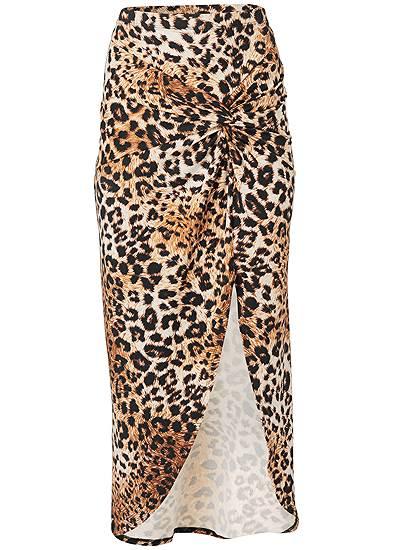 Plus Size Leopard Print Maxi Skirt