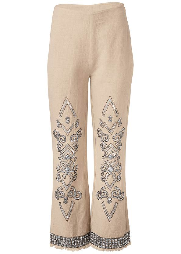 Ghost  view Embellished Linen Pants