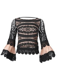 Ghost  view Crochet Lace Up Top