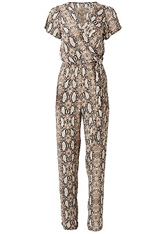 plus size tie front python jumpsuit