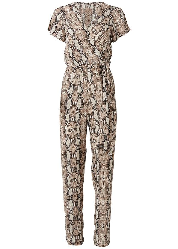 Ghost  view Tie Front Python Jumpsuit