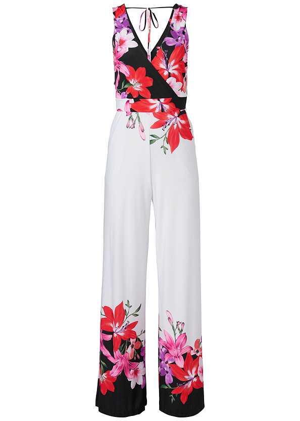 Floral Print Jumpsuit,Lace Bra Panty Set,Oversized Tassel Earrings