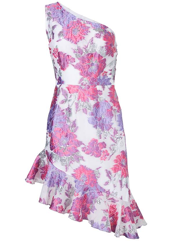Ghost  view Floral Metallic Dress
