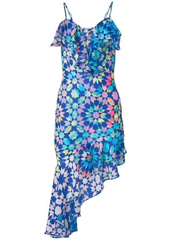 Ghost  view Tile Print Dress
