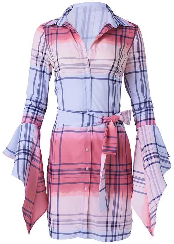 Ombre Plaid Dress,Chain Link Earrings