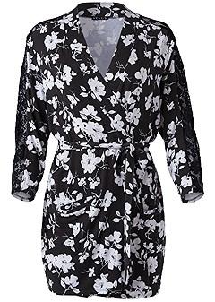 plus size floral print robe