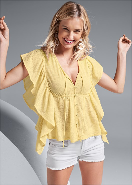 RUFFLE DETAIL BUTTON UP TOP,CUT OFF JEAN SHORTS,LACE UNLINED WIRE BRA,EMBELLISHED WEDGES,STUD DETAIL HANDBAG,LONG CIRCLE EARRINGS