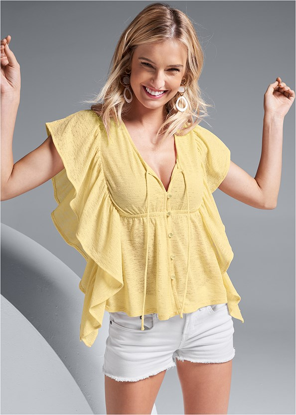 Ruffle Detail Button Up Top,Frayed Cut Off Jean Shorts,Lace Unlined Wire Bra,Embellished Wedges,Stud Detail Handbag