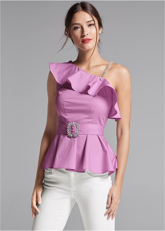 ONE SHOULDER BELTED BLOUSE,COLOR SKINNY JEANS,EVERYDAY YOU STRAPLESS BRA,STRAPPY HEELS