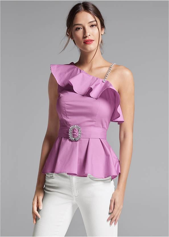 One Shoulder Belted Blouse,Mid Rise Color Skinny Jeans