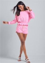 Full front view Ruffle Hem Lounge Short Set