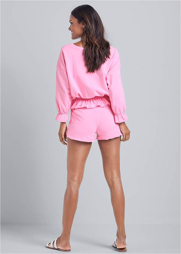 Full back view Ruffle Hem Lounge Shorts Set