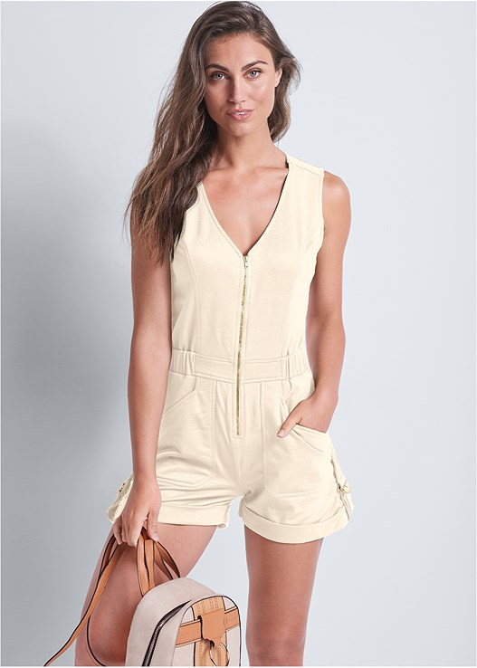 CARGO LOUNGE ROMPER,COLOR BLOCK BACKPACK,EMBELLISHED ESPADRILLES