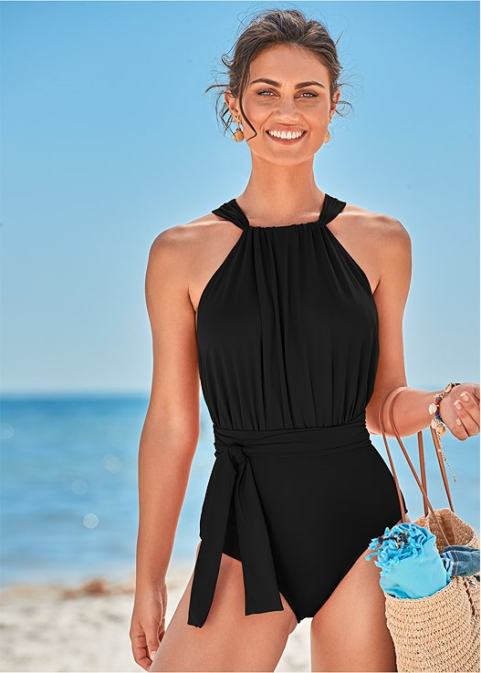 HEATHER ONE-PIECE,BLING COVER-UP KIMONO