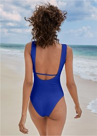 Back View Textured Keyhole One-Piece