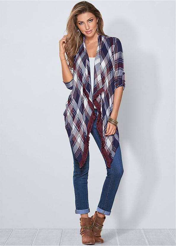 Plaid And Fringe Cardigan,Lace Cami,Mid Rise Color Skinny Jeans