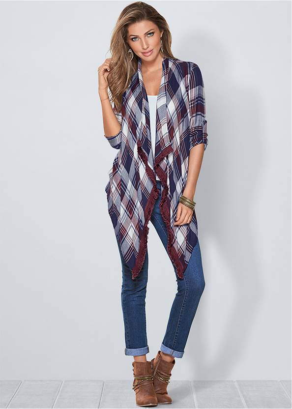 Plaid And Fringe Cardigan,Basic Cami Two Pack,Lace Cami,Mid Rise Color Skinny Jeans