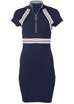 plus size zip front lounge dress