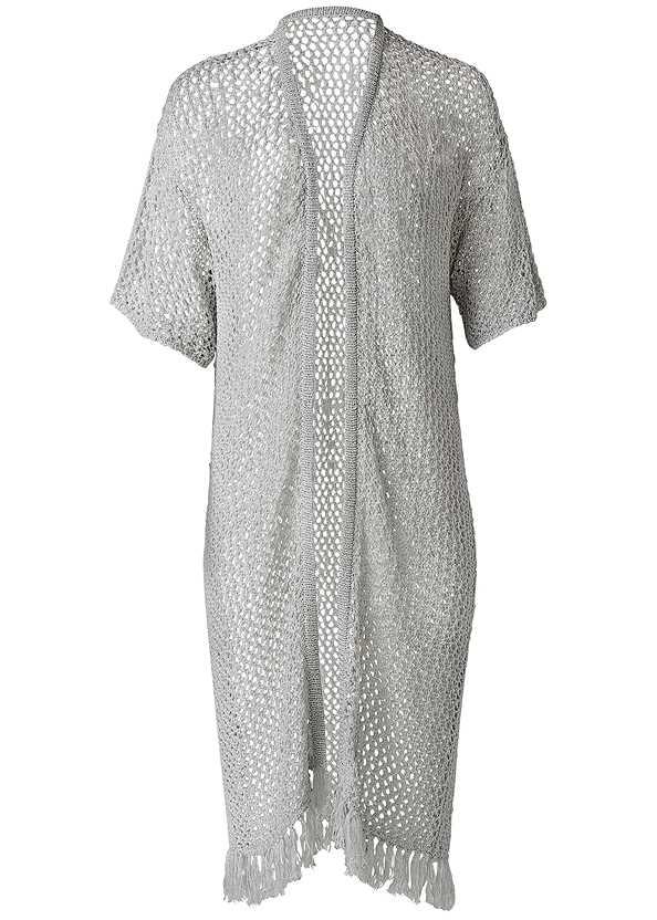 Open Knit Fringe Duster,Sleeveless Ruched Bodycon Midi Dress,Tassel Detail Hoop Earrings