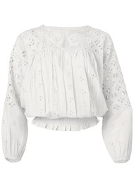 Ghost  view Smocked Waist Eyelet Top