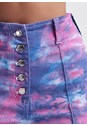 Detail front view Tie Dye Denim Shorts