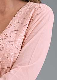 Detail front view Eyelet Bell Sleeve Dress