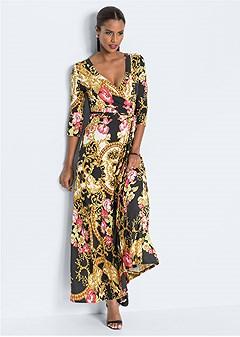 wrap detail maxi dress