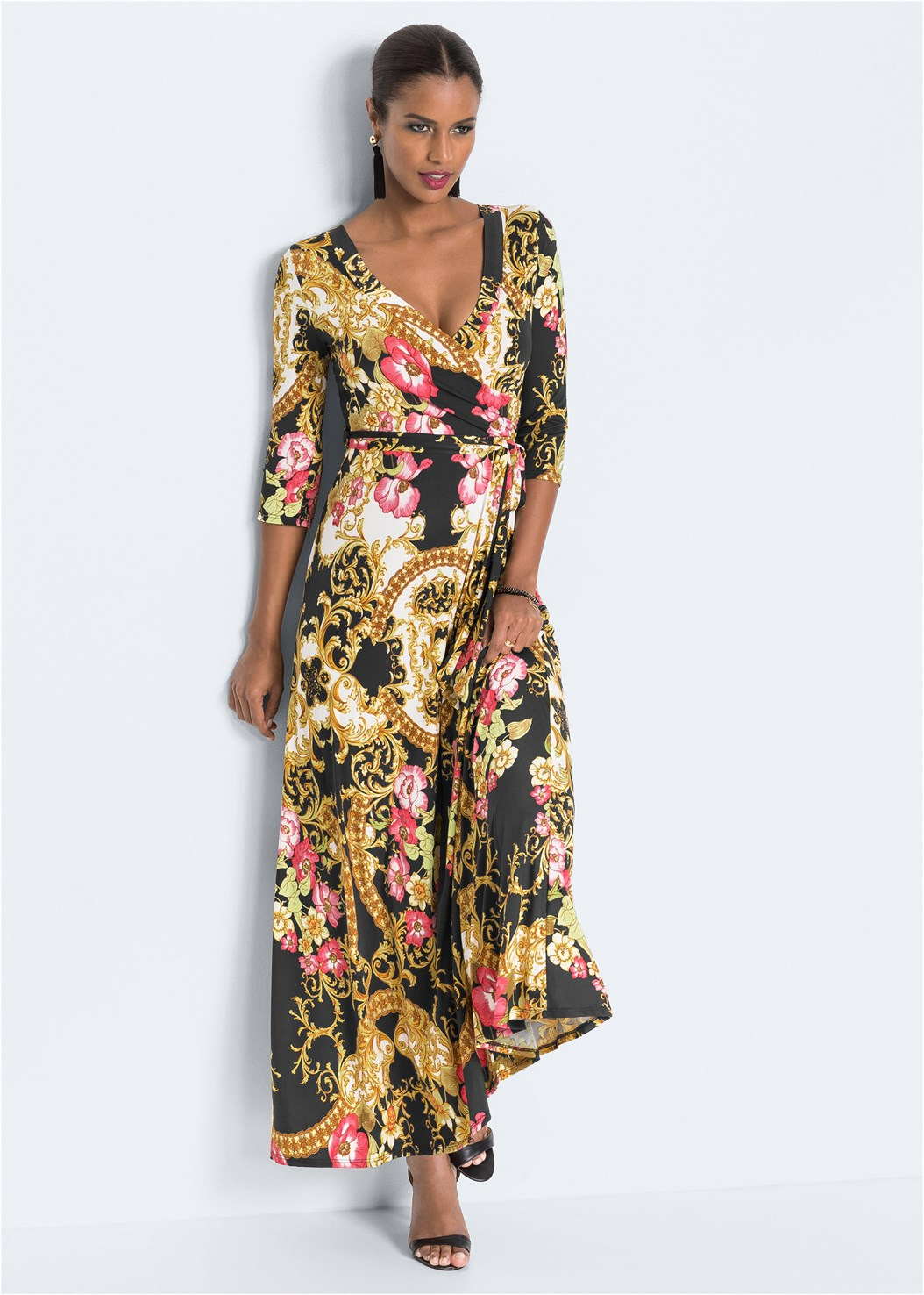 Mixed Print Wrap Dress,Confidence Seamless Dress,Beaded Hoop Earrings