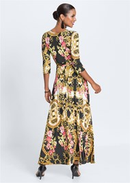 Full back view Mixed Print Wrap Dress