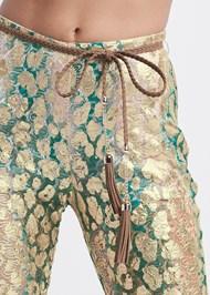 Detail front view Metallic Lace Pants