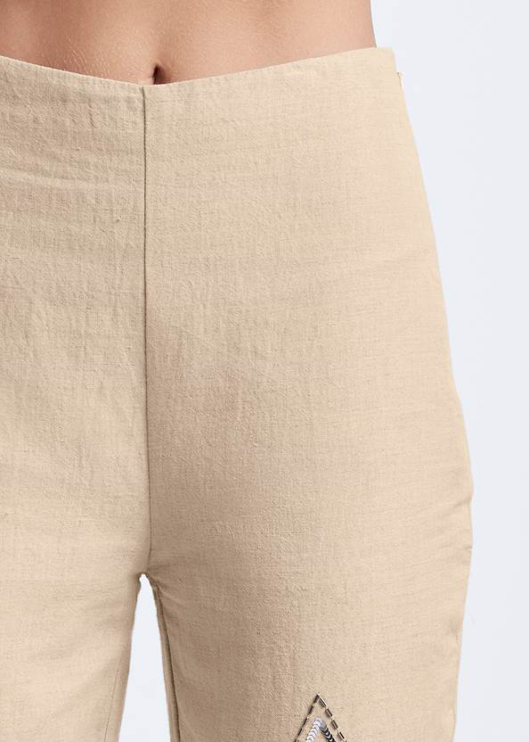 Detail front view Embellished Linen Pants