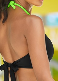 Detail back view Color Block High Neck Top
