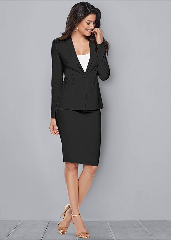 Pencil Skirt Suit Set,Basic Cami Two Pack,T-Strap Ankle Heels,Square Hoop Earrings,Studded Belt Bag