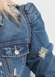 Alternate View Cropped Puff Sleeve Denim Jacket