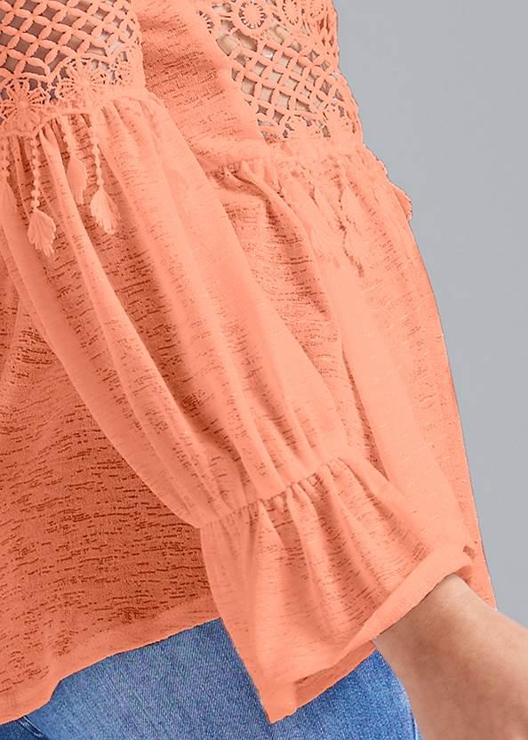 Alternate View Crochet Bell Sleeve Top