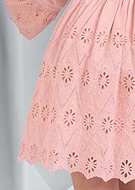 Detail back view Eyelet Bell Sleeve Dress