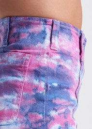 Detail side view Tie Dye Jean Shorts