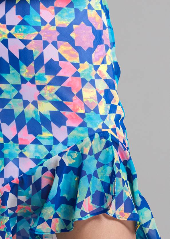 Detail front view Tile Print Dress