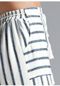 Detail side view Navy Striped Pants