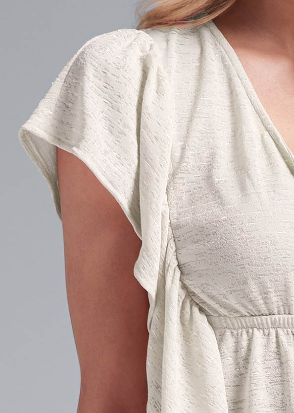 Alternate View Ruffle Detail Button Up Top