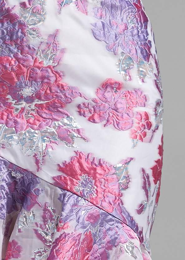 Detail front view Floral Metallic Dress