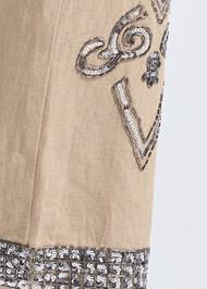 Detail side view Embellished Linen Pants