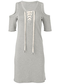 plus size lace up lounge dress