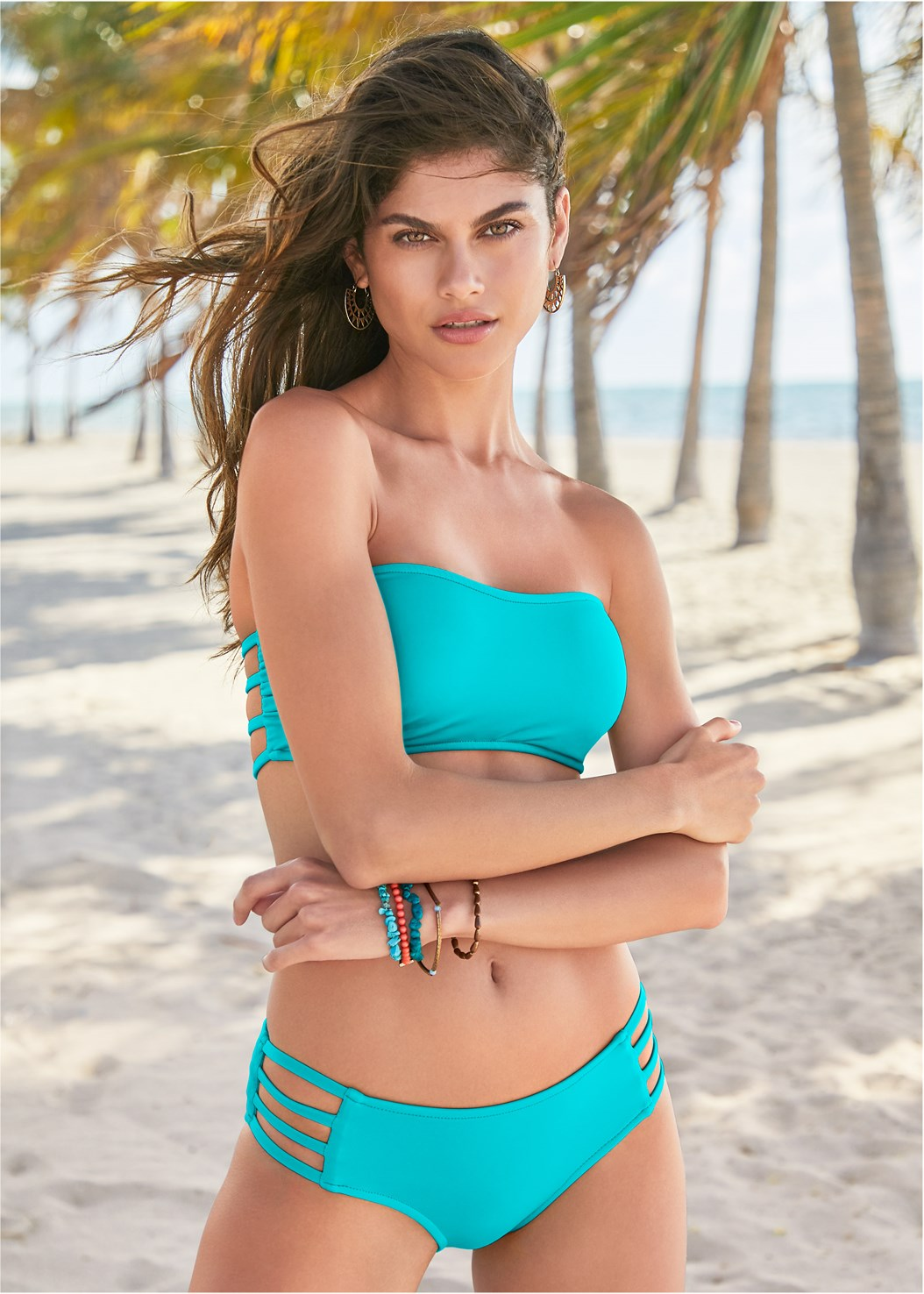 Mid Rise Strappy Bottom,Goddess Enhancer Push Up Halter Top,Triangle String Bikini Top,Hooded Pocket Cover-Up