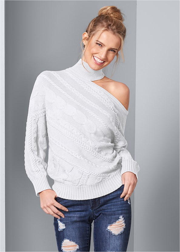 One Shoulder Turtleneck,Ripped Bum Lifter Jeans,Reversible Jeans,Leopard Boots,Medallion Earrings,Stud Detail Scarf