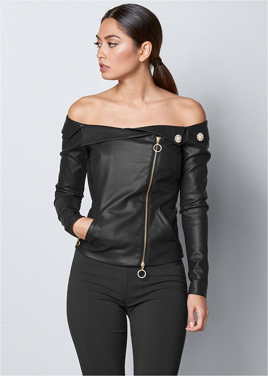 FAUX LEATHER ZIPPER TOP,SLIMMING STRETCH JEGGINGS